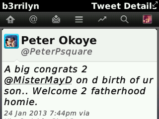 Peter tweets at May D