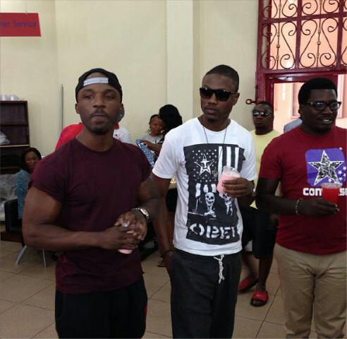 Iyanya And Vector Work As Sales Attendants In Abuja
