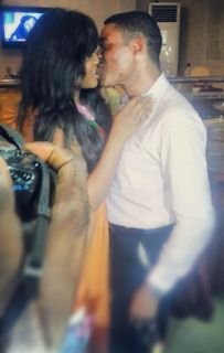 Omotola Get A Sweet Kiss From Hubby At Her Birthday Bash