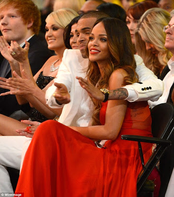 Riri and Chris Brown flaunt their love at the Grammy