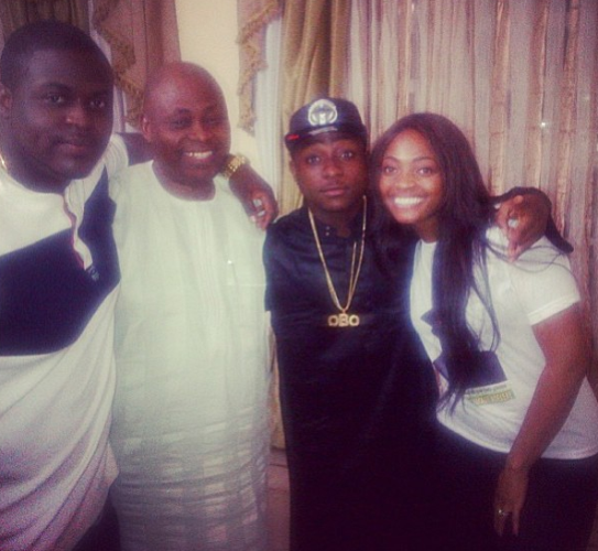 Davido and Siblings With Their Dad
