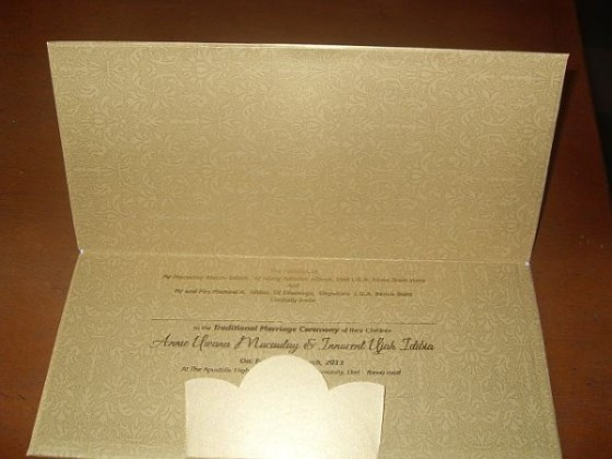 2face and Annie Macaulay's traditional wedding invitation