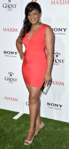 Omotola in red at Maxim's hot 100 party