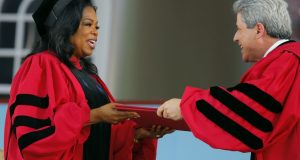 Oprah Winfrey receives Harvard doctorate degree in tears