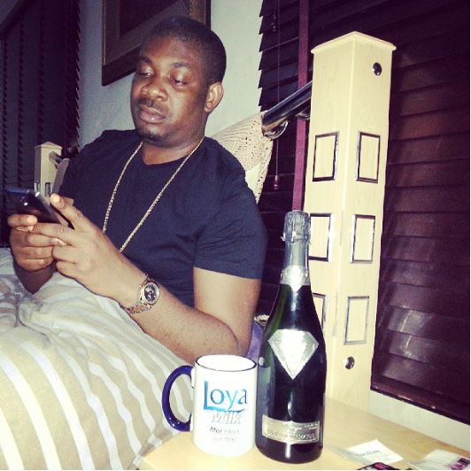 Don Jazzy chilling with his Goût de Diamants bottle