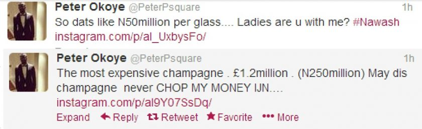 Peter Okoye reacts to the world's most expensive champagne