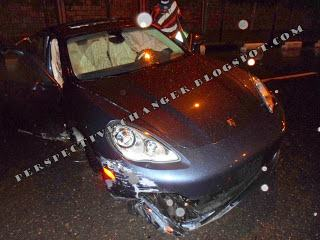 Wizkid involved in an accident- porsche badly damaged