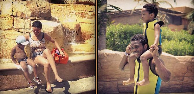 Joseph Yobo's vacation with wife and son
