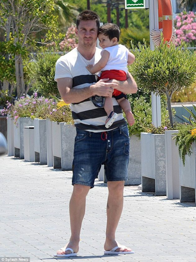Lionel Messi and his son