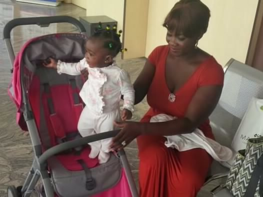 Mercy Johnson and daughter spotted