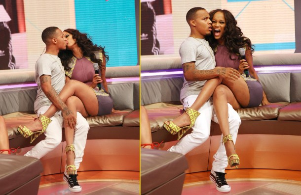 Bow Wow and Tyra Banks french kiss on BET '106 & Park'