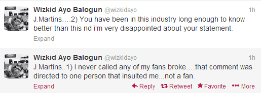 I am disappointed in you - WizKid to J-Martins
