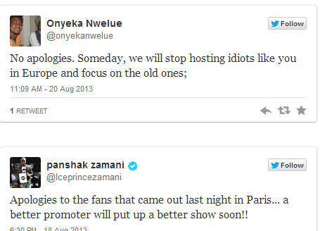 Ice Prince apologized to his fans in Paris on twitter