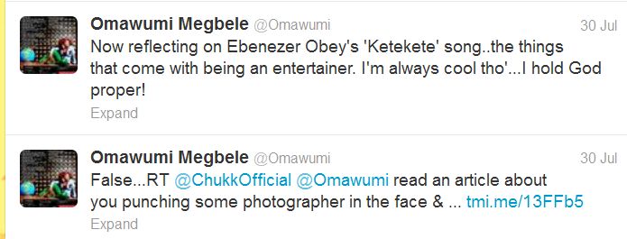Omawumi denies slapping & beating up journalist