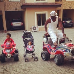 Peter Okoye spends time with his kids