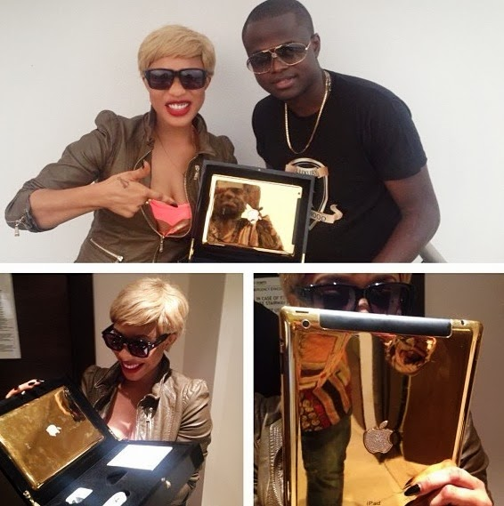 Tonto Dike receives 24-Carat customized gold plated iPad and other gifts