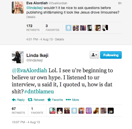 Tweet Fight between Eva Alordiah and Linda Ikeji