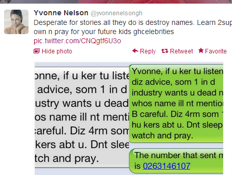 Yvonne Nelson responds to allegations she sent a death threat to herself