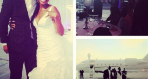 Davido's sister, Sharon arrived her wedding reception in a private jet