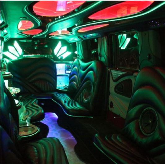inside of Psquare's luxurious limo truck