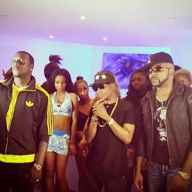 Akon joins Wizkid, BankyW for 'Roll It' music video shoot