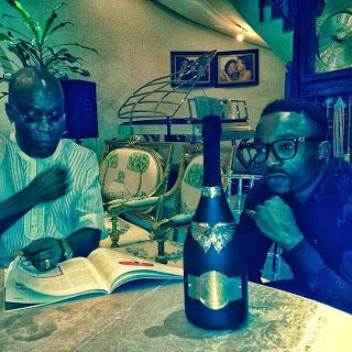 Iyanya poses with the real most expensive champagne 'Gout De Diamants'
