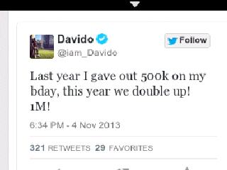Davido to give out N1,000,000 on his 21st birthday