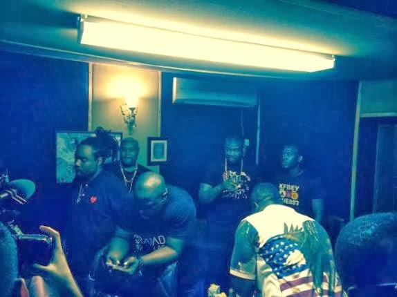 Wale spotted at Mavin Studio with D'banj and Don Jazzy