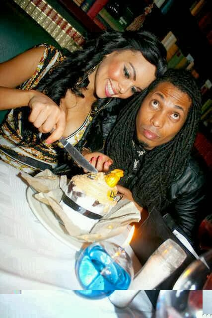 Angelo and boo Candice Arends eating