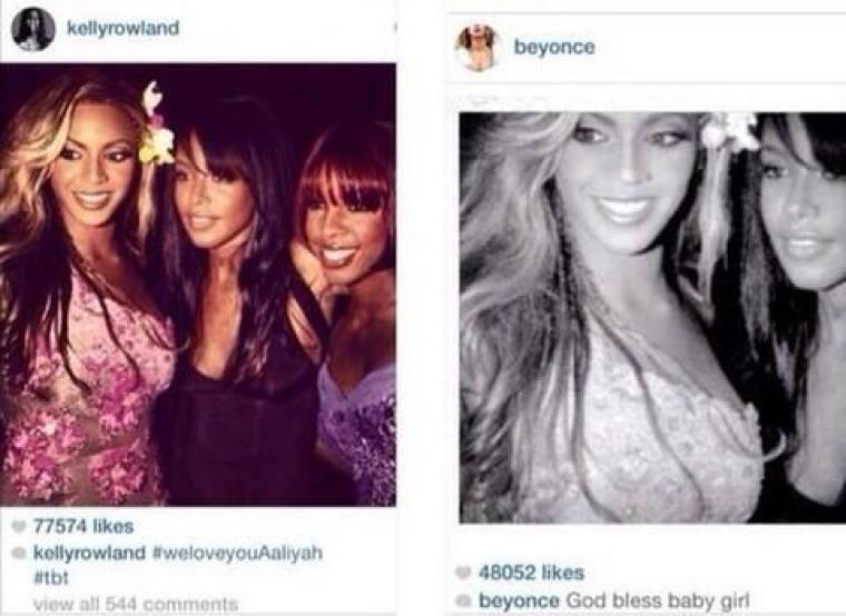 Beyonce crops out Kelly Rowland from Aaliyah tribute photo