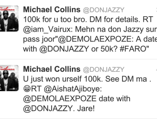 Donjazzy surprised two fans on twitter with 100k