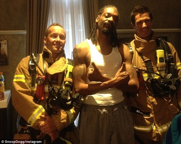 Firefighters and Snoop Dogg in Melbourne