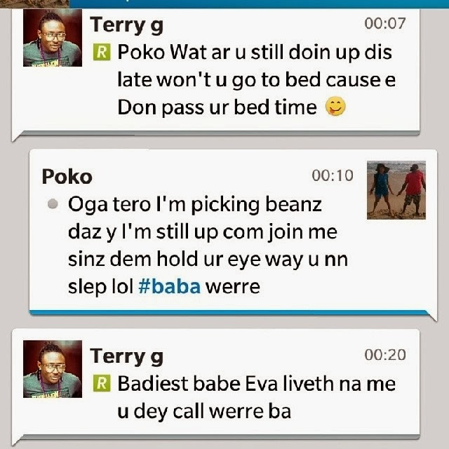 Tonto Dikeh reveals BBM late night chat between her and Terry G