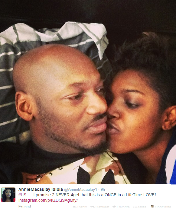 Annie Idibia shares pic of herself and hubby in bed