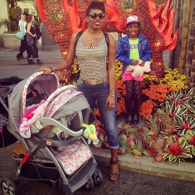 Annie Idibia steps out looking hot with daughters