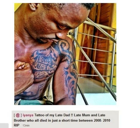 Iyanya tattoos late mum, dad and brothers name on his chest