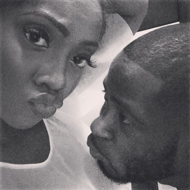 Tiwa Savage and Teebillz cuddled up in bed
