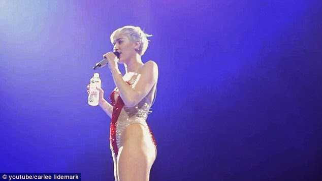 Miley Cyrus during concert