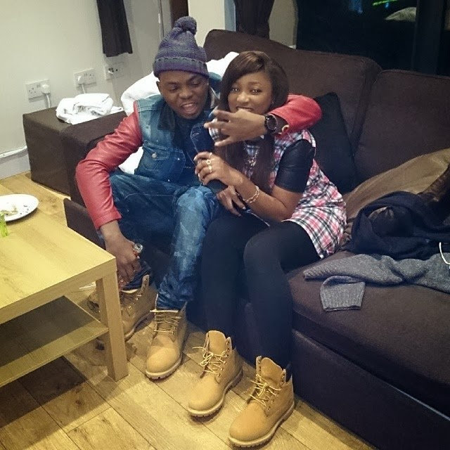 Olamide and his boo rock matching Timberland boots