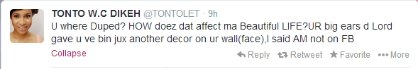 Tonto Dike's reply to fan who was duped