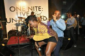 Waje twerks & grinds on a 'lucky' male fan on stage