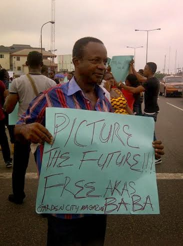 protest the kidnap of Wazobia FM's Akas Baba