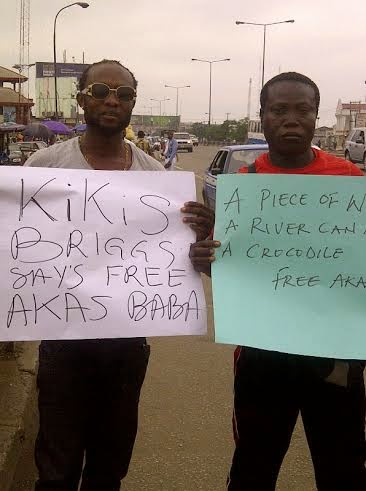protesters of the kidnap of Wazobia FM's Akas Baba