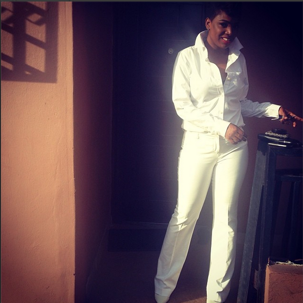 Annie Idibia in all-white outfit