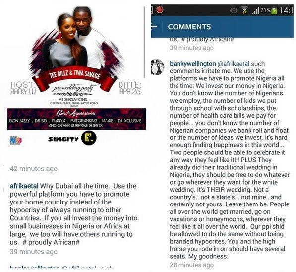 Banky W replies critics of Tiwa Savage's Dubai wedding