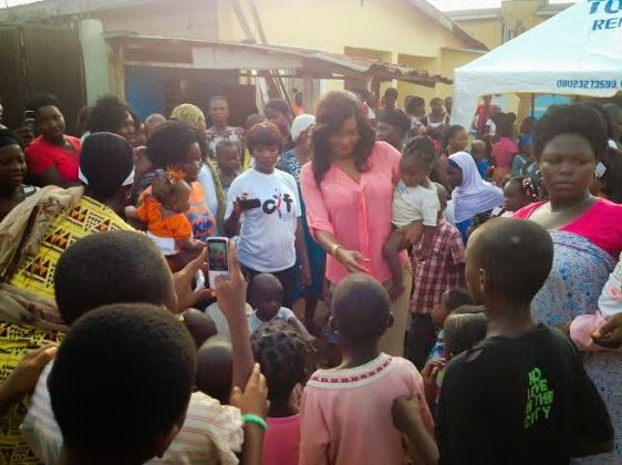 Chika Ike gives to kids during Easter