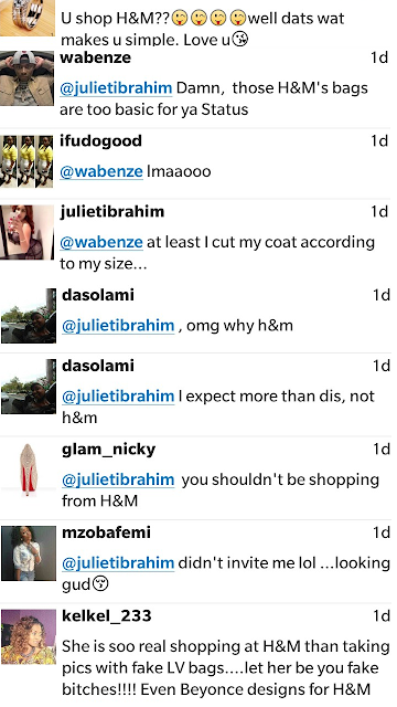 Juliet Ibrahim's fans mock her for shopping at H&M NaijaVibe