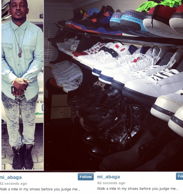 M.I shows off his shoe collection