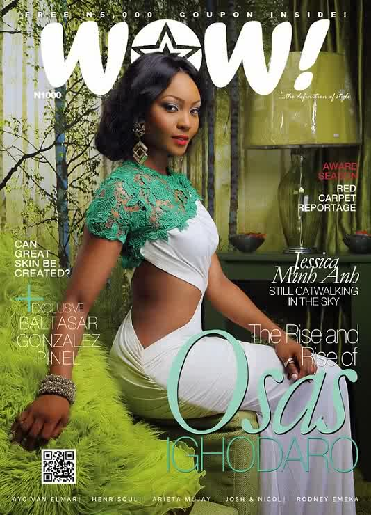 Osas Ighodaro looking lovely on WOW Magazine April issue cover