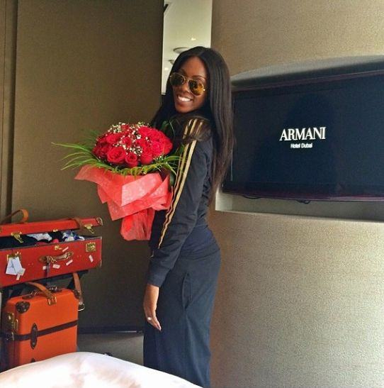 Tiwa Savage arrives in Dubai for wedding
